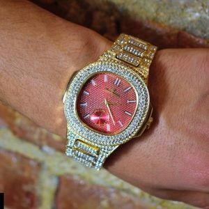 Other - Full Iced Out heavy bling stylish gold pt watch